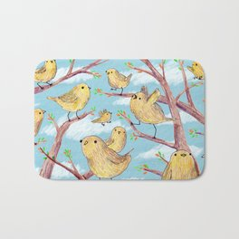 Yellow Birds in a Tree Bath Mat