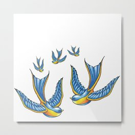 Flock Of Cute Tattoo Style Swallows Vector Metal Print