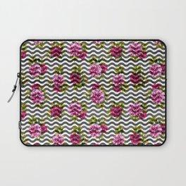 Neon pink green white black geometrical chevron floral Laptop Sleeve