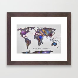 """Star map. Never stop exploring...II"". World map. Framed Art Print"