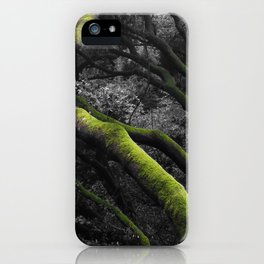 Mossy Bay Trees in Selective Black and White iPhone Case