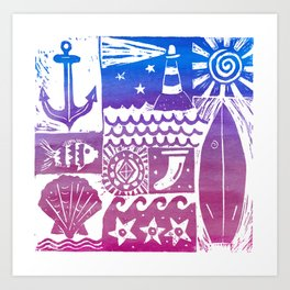 Surf Vibes - ocean and nautical linoprint with anchor and lighthouse Art Print