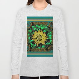 Abstracted Teal-Green Yellow Chrysanthemums Floral Long Sleeve T-shirt