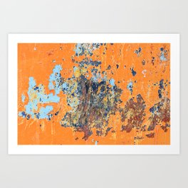 Orange metal background with cracked, peeling paint with stains of blue paint and rust spots. Art Print