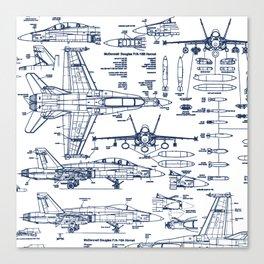 F-18 Blueprints // Blue Ink Canvas Print