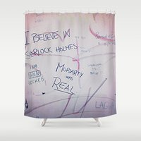 moriarty Shower Curtains featuring Moriarty was real by Kaserina
