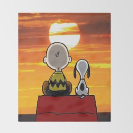 sunset carly snoopy Throw Blanket