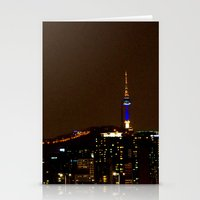 seoul Stationery Cards featuring Seoul Night by Zayda Barros