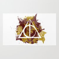 deathly hallows Area & Throw Rugs featuring The Deathly Hallows (Gryffindor) by FictionTea
