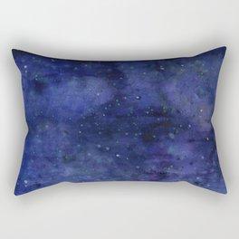 Galaxy Watercolor Nebula Texture Night Sky Stars Rectangular Pillow