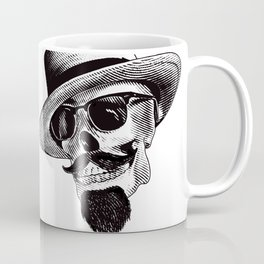 Hipster Skull in Black and White Coffee Mug