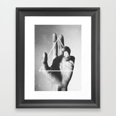 hand + triangle Framed Art Print