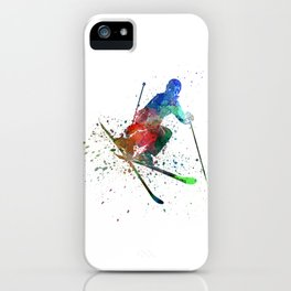 woman skier freestyler jumping iPhone Case