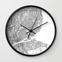 Detroit White Map Wall Clock