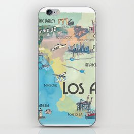 Greater Los Angeles Fine Art Print Retro Vintage Map with Touristic Highlights in colorful retro pri iPhone Skin