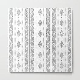 White and Black Mud Cloth Style Boho Tribal Pattern Metal Print