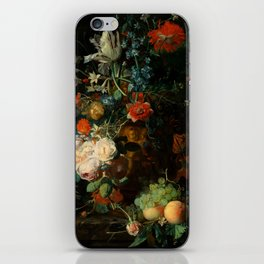 """Jan van Huysum """"Still life with flowers and fruits"""" iPhone Skin"""