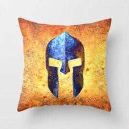 Blue Spartan Helmet On Rust Background - Molon Labe Throw Pillow