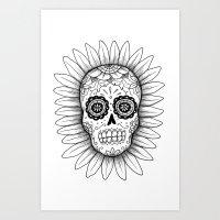 Dia de los Muertos Skull - Black and White Art Print
