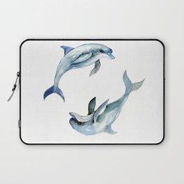 Dolphin, Two Dolphins, chidlren room decor illustration dolphin art Laptop Sleeve