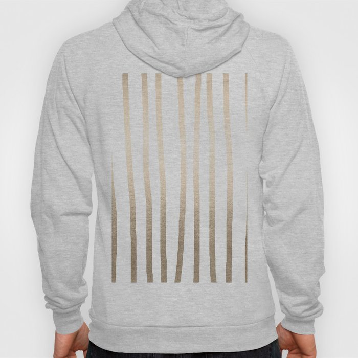 Simply Drawn Vertical Stripes in White Gold Sands Hoody