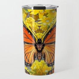 MONARCH BUTTERFLIES & GOLDEN YELLOW  FLOWERS Travel Mug
