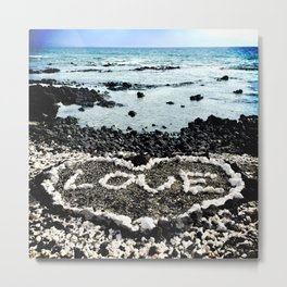 "Hawaii Black Sand Beach & Coral ""Love"" Heart Photo Metal Print"