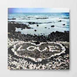 "Hawaii Black Sand Beach & Coral ""Love"" Heart Photo Metal Print"