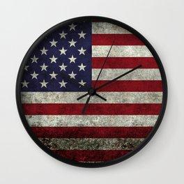 American Flag, Old Glory in dark worn grunge Wall Clock