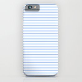 Mattress Ticking Narrow Horizontal Stripe in Pale Blue and White iPhone Case
