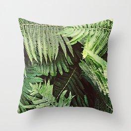 Forest of Green Ferns Throw Pillow