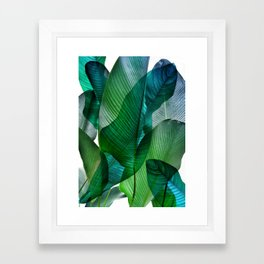 Palm leaf jungle Bali banana palm frond greens Framed Art Print