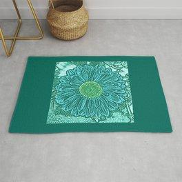 Gerbera Daisy Block Print, Turquoise and Aqua Rug