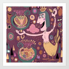 The Bird Lady Cometh, plum mauve version Art Print