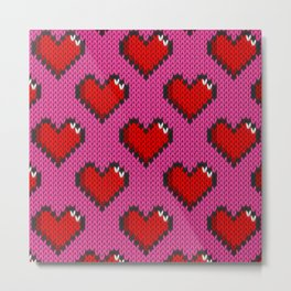 Knitted heart pattern - pink Metal Print