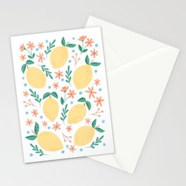 Summer Lemons with Pink Blossoms Stationery Cards