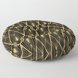 Art Deco Squares and Diamonds of Gold Floor Pillow