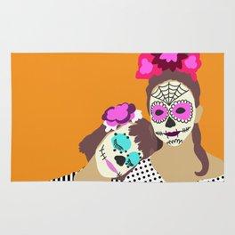 Sugar Skull Halloween Girls Orange Rug