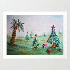 Tropical Christmas Whimsical Scenery  Art Print