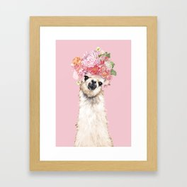 Llama with Flower Crown in Pink Framed Art Print