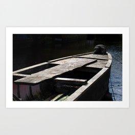 dark boat at twilight Art Print