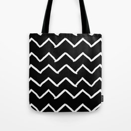 Black and White Zick Zack Brush Tote Bag