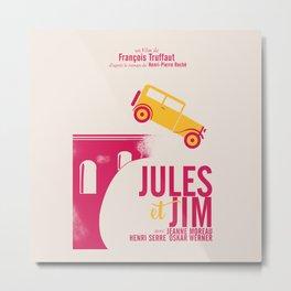 Jules et Jim, François Truffaut, minimal movie Poster, Jeanne Moreau, french film, nouvelle vague Metal Print