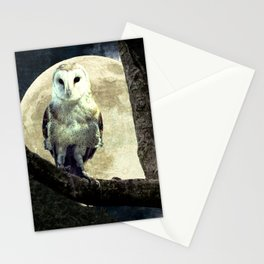 Barn Owl Bird Moon Modern Country Decor Farmhouse Art A497 Stationery Cards