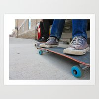 skateboard Art Prints featuring Skateboard by Mechanical Kayla