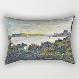 Red Poppies on the banks of the Seine at Argenteuil by Claude Monet Rectangular Pillow