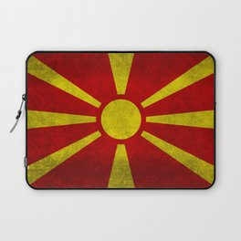 Flag of Macedonia in Super Grunge Laptop Sleeve