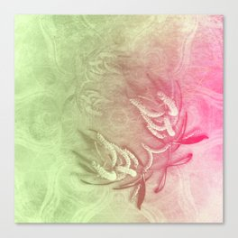 Pink and green wattle and kaleidoscope Canvas Print