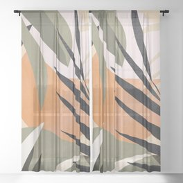 Abstract Art Tropical Leaves 2 Sheer Curtain