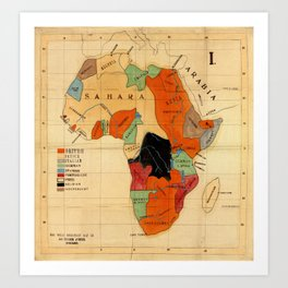 Map Of Africa 1908 Art Print